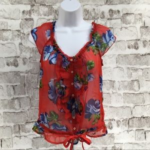 Hollister Sheer Short Sleeve Top Red Floral SZ S